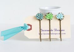 Hair Pins Turquoise Seafoam Flower Bobby Pins by JacarandaDesigns, $11.25