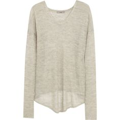 Helmut Lang Open-knit alpaca and silk-blend sweater ($110) ❤ liked on Polyvore featuring tops, sweaters, shirts, light gray, loose sweater, alpaca wool sweater, loose fitting shirts, loose fitting tops and open-stitch sweater