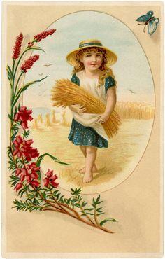 Vintage Wheat Harvest Girl