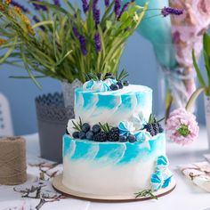 #she_ra_cakes | Russian cakes painted blue white blueberries blackberries ombre | Moscow, Russia | order cake