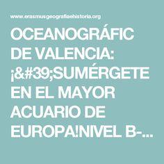 OCEANOGRÁFIC DE VALENCIA: ¡'SUMÉRGETE EN EL MAYOR ACUARIO DE EUROPA!NIVEL B-2TERMINOLOGÍA MEDIOAMBIENTAL/ORTOGRAFÍA: ACENTUACIÓN | erasmusgeografiaehistoria.org