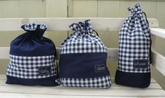 Travel bags for laundry checkered white navy blue shoes by annadw, $50.00
