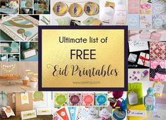 List of Free printable Eid Party Packs - Table Decor, Eid Banner/ Garland/ Flags/ Bunting, Cards/ Posters, Eid Envelopes/ Wrapping Sheets/ Boxes and Eid Gift Tags/Stickers Eid Mubarak Gift, Eid Mubarak Stickers, Eid Mubarak Banner, Eid Stickers, Umrah Mubarak, Eid Crafts, Ramadan Crafts, Diy Eid Gifts, Diy Eid Decorations