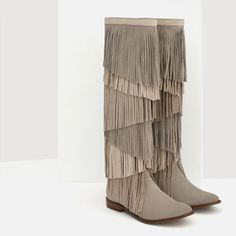Image 6 of LEATHER BOOTIES WITH FRINGE from Zara | Fashion for tall women | tall clothing | tall style | tall ootd | long legs | tall clothes