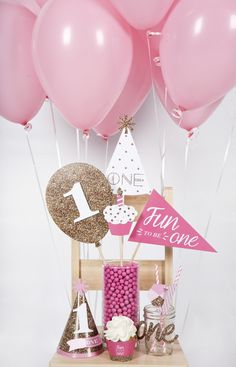 Fun to be One -1st Birthday Girl - Pink and Gold #BigDot #HappyDot