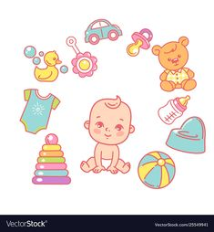 cute little baby girl sitting, wear diaper. Kid's toys, elements and objects. Baby shower cards for boy. Designer Baby, Cute Little Baby Girl, Little Babies, Baby Spa, Baby Icon, Baby Illustration, Baby Stickers, Baby Drawing, Baby Learning