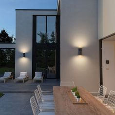 Savino 2 Light Outdoor Wall Light by Tech Lighting Modern Exterior Lighting, Modern Outdoor Wall Lighting, Exterior Wall Light, Patio Lighting, Sconce Lighting, Lighting Ideas, Outdoor Commercial Lighting, Indoor Wall Sconces, Outdoor Wall Sconce
