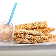 Recettes santé | Nutrisimple | Frites d'aubergine au four Eggplant, Side Dishes, Cereal, Tasty, Vegetables, Breakfast, Desserts, Recipes, Food