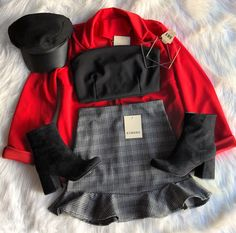 Red, black and grey outfit Cute Casual Outfits, Edgy Outfits, Mode Outfits, Korean Outfits, Fall Outfits, Teen Fashion Outfits, Outfits For Teens, Black And Grey Outfits, Mode Rock