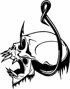Skull Fish Hook Fishing Bone Boat Car Truck Window Vinyl Decal Sticker | eBay