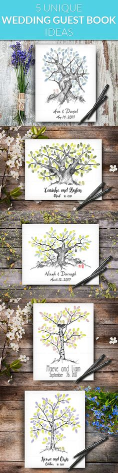 Hand Drawn Personalized Fingerprint Wedding Trees by LoveArtDesign Wedding Tree Guest Book, Guest Book Tree, Guest Books, Tree Wedding, Fingerprint Wedding, Fingerprint Tree, Wedding Posters, Personalized Wedding, Unique Weddings