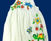Hand Painted Flower Pals Empire Dress for Toddler Girls by deborahwillarddesign on Etsy, $36.00 USD