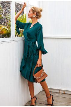 7a85711bf1d Sexy Jungle Green Ruffled Wrap Dress