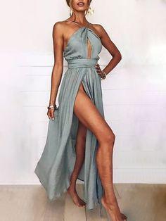 Sexy Keyhole Halter Neck Side Slit Maxi Dress