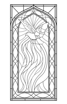 Stained Glass Window with Holy Spirit Coloring page