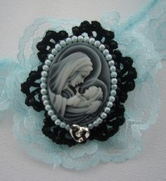 Victorian Style Mother of God Cameo Brooch Pin by CraftsbySigita on Etsy