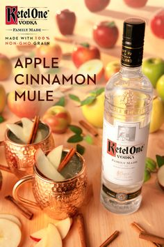 Savor the flavors of the season at your Thanksgiving dinner with the Apple Cinnamon Mule crafted with Ketel One Family Made Vodka. Shake oz Ketel One Family Made Vodka, oz Apple Cider, and oz fresh squeezed lime juice with ice and strain into Christmas Cocktails, Holiday Cocktails, Cocktail Drinks, Cocktail Recipes, Non Alcoholic Drinks, Fun Drinks, Yummy Drinks, Beverages, Thanksgiving Recipes