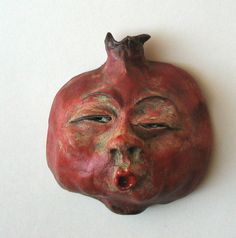 Items similar to Pomegranate fruit face: Peculiar Penny, handmade ceramic wall art funny face fruit on Etsy Pottery Vase, Ceramic Pottery, Pomegranate Art, Armenian Culture, Arts And Crafts, Paper Crafts, Clay Faces, Jewish Art, Clay Projects