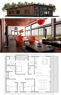 Small House Plan, Small Home Plan, Architecture - Home Decor Dream House Plans, Modern House Plans, Small House Plans, House Floor Plans, Simple Floor Plans, Casas Containers, Sims House, House Layouts, Little Houses