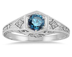 Blue Diamond .40CT Art Deco Engagement Ring Antique Vintage 14K White Gold