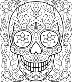 Free Sugar Skull Coloring Page by Thaneeya McArdle  Davlin Publishing #adultcoloring