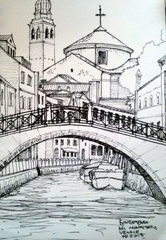 """Fondamenta del Monastero, Venice"" by Seth Davenport Urban Sketchers, Pencil Art Drawings, Art Drawings Sketches, Building Sketch, Building Drawing, Perspective Art, Perspective Drawing Lessons, Landscape Drawings, Landscape Sketch"
