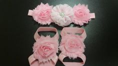Baby Headband  Baby Flower Shoes  Infant Flower by linydress