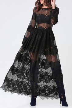 See-Through Long Sleeves Lace Maxi Dress