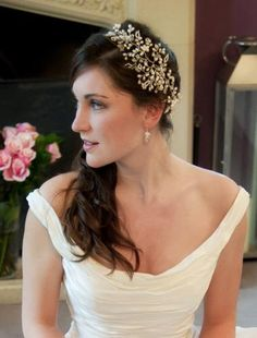 Abby wearing Hermione Harbutt bespoke May Blossom and May Blossom earrings. Image courtesy of Documentary Image. http://www.hermioneharbutt.com/wedding/hair_accessories/buy.php?Product=212=May+Blossom+Headdress