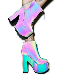Y.R.U. Nightmare Reflective Platform Boot | Dolls Kill