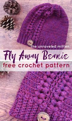 Fly Away Beanie Free Crochet Pattern - Wiezu Crochet Adult Hat, Crochet Beanie Pattern, Crochet Patterns, Crochet Crafts, Easy Crochet, Knit Crochet, Crochet Baby, Crochet Projects, Crochet Winter