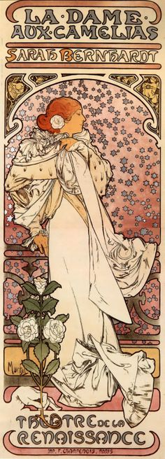 Alphonse Mucha, 'La Dame aux Camelias', Vintage poster in Art Nouveau style. Mucha Art Nouveau, Alphonse Mucha Art, Art Nouveau Poster, Art And Illustration, Illustrations Posters, Vintage Posters, Vintage Art, Jugendstil Design, Foto Poster