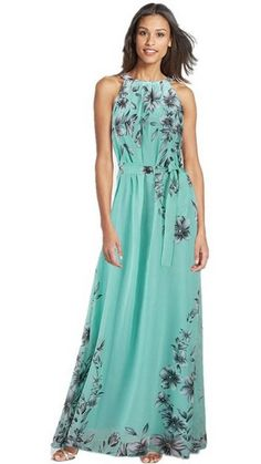 Chiffon Sleeveless Flower O-neck Bohemian Long Dress