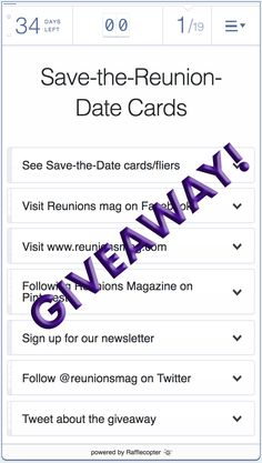 Rafflecopter makes it crazy-simple to create, run, and enter online giveaways and sweepstakes. Save The Date Postcards, Save The Date Cards, The Reunion, Giveaway, Dating, Invitations, Facebook, Website, Digital