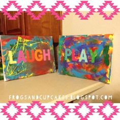 Have your child paint a canvas with acrylic paint, add sticker letters, and Mod Podge it for a cute bedroom or playroom painting!