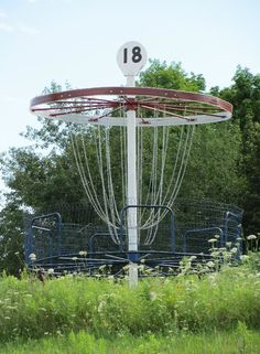 The largest playable disc golf basket in the world at Highbridge Hills. AWESOME.