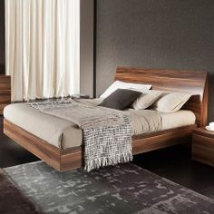 Rossetto USA Vela Bed in Walnut by Rossetto Furniture Bed Frame Design, Room Design Bedroom, Bedroom Furniture Design, Bed Furniture, Home Bedroom, Bedroom Decor, Modern Furniture, Office Furniture, Rustic Master Bedroom