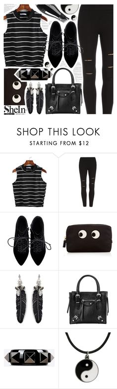 """Black on black with Shein sales!"" by pastelneon ❤ liked on Polyvore featuring Anya Hindmarch, Rebecca Minkoff, Valentino and Carolina Glamour Collection"