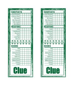 Légend image with printable clue game cards
