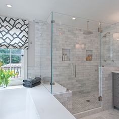 Shower tile master bathroom with custom roman shades in F Schumacher Zimba Charcoal Fabric, cool gray paint color, drop-in tub, seamless glass shower with marble subway tiles shower surround with rain shower head and charcoal gray bathroom vanity. Grey Bathroom Vanity, Grey Bathrooms, Bathroom Renos, Beautiful Bathrooms, Master Bathroom, Modern Bathroom, Bathroom Ideas, Bath Ideas, Master Shower