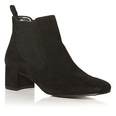 POUTY - Block Heel Suede Ankle Boot