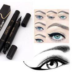 Winged-Eyeliner-Stamp-Waterproof-Makeup-Cosmetic-Eye-Liner-Pencil-Black-Liquid-D