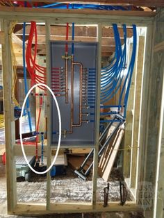 In the meantime, another set of couplings are added outside of the manifold cabinet. Installing a washing machine water box is an additional step for this manifold. Next time. Slab Leak, Pex Plumbing, Outdoor Sinks, Plumbing Installation, Plumbing Emergency, Plumbing Problems, Insulation Materials, Master Shower, House Siding