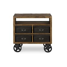 Braxton Antique Brown Wood Four Drawer Nightstand