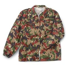 4 New Swiss Military Surplus Jackets, Camo - Camo Jackets at Sportsman's Guide Camo Bomber Jacket, Shirt Jacket, Military Trench Coat, Military Jacket, Military Surplus, Rain Gear, Swiss Army, Mens Tops, Shirts