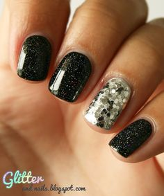 Nail idea #2: Shimmery Black polish with Silver Glittery accent nail