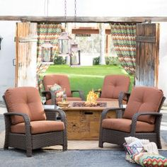 Belham Living Palazetto San Miguel Cast Aluminum Conversation Set With Fire  Pit | Outdoor Living | Pinterest | Patios, Backyard And Outdoor Furniture  Sets