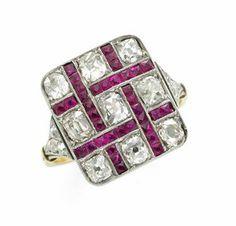 An Art Deco Ruby and Diamond Ring, circa 1920