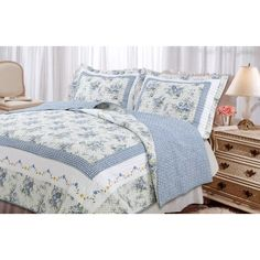 Great for Essonnes Reversible Quilt Set by August Grove Bedding Sale from top store Ruffle Bedding, Quilt Bedding, Classic Bedding Sets, Online Bedding Stores, Country Bedding, King Size Quilt, Traditional Bedroom, Blue Quilts, Queen