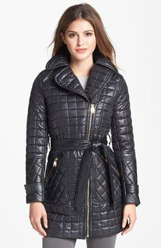 Via Spiga Asymmetrical Belted Quilted Coat (Online Only) available at #Nordstrom